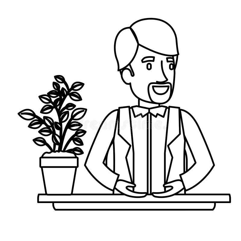 Ayudante negro del hombre de la barba de half body van dyke del primer de la silueta en escritorio en chaqueta stock de ilustración