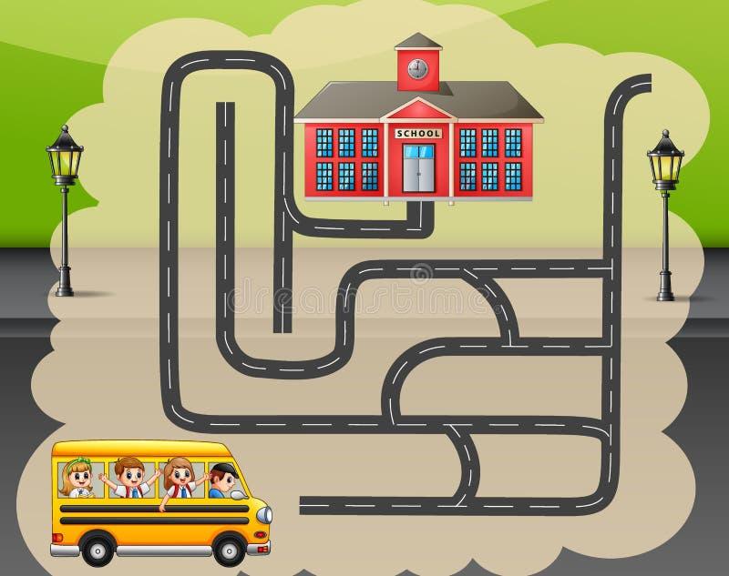 Ayude al autobús escolar para encontrar la manera a la escuela libre illustration