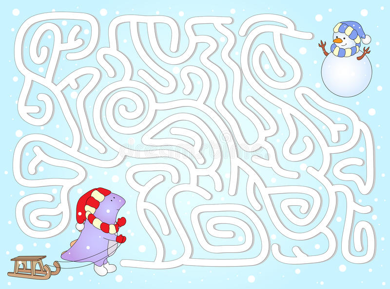 Ayude al dinosaurio a encontrar manera a su muñeco de nieve del amigo en un laberinto del invierno ilustración del vector