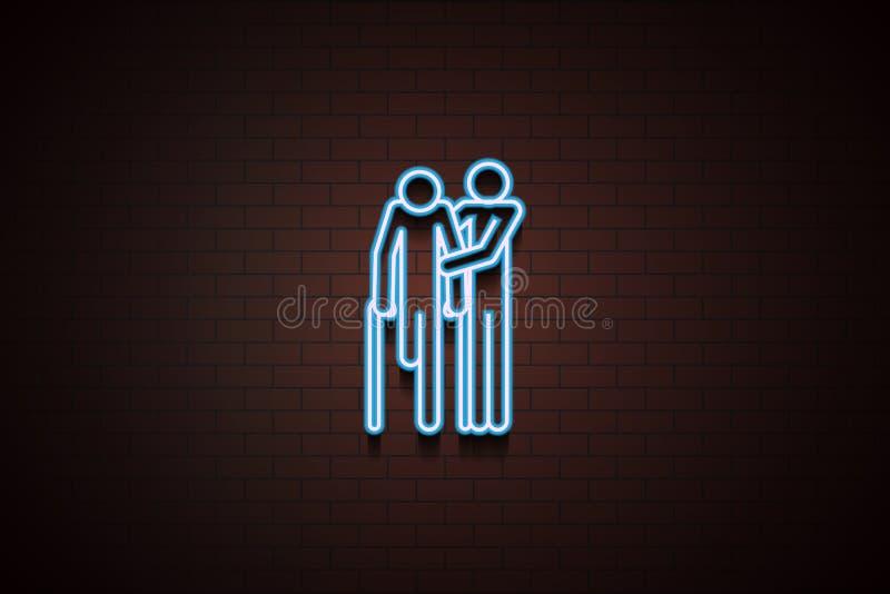 ayude para el icono discapacitado en el estilo de neón stock de ilustración