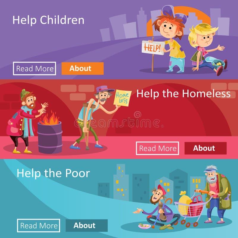 Ayude para las banderas sin hogar y pobres del web del ejemplo de la gente para el proyecto o la organización social de la carida stock de ilustración