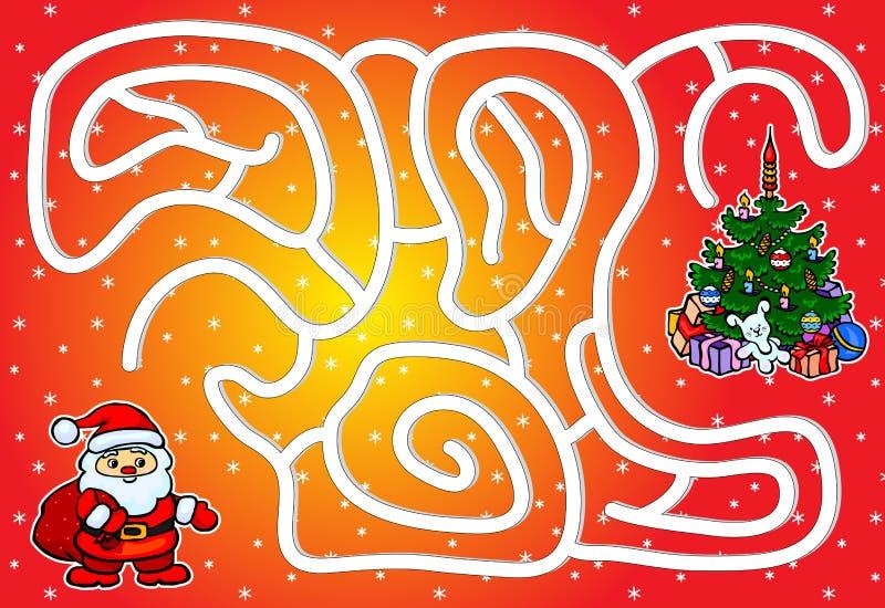 Ayude a Santa Claus a pasar a través de un laberinto y a encontrar un árbol de navidad ilustración del vector