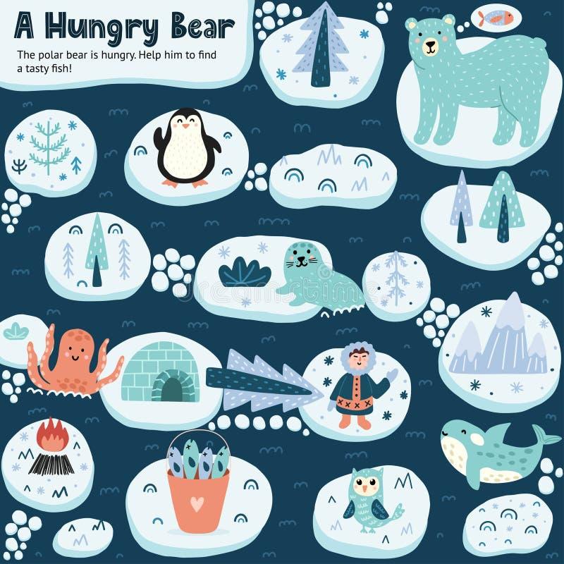 Ayude a un oso hambriento a encontrar un pescado delicioso Un juego de laberinto gracioso libre illustration