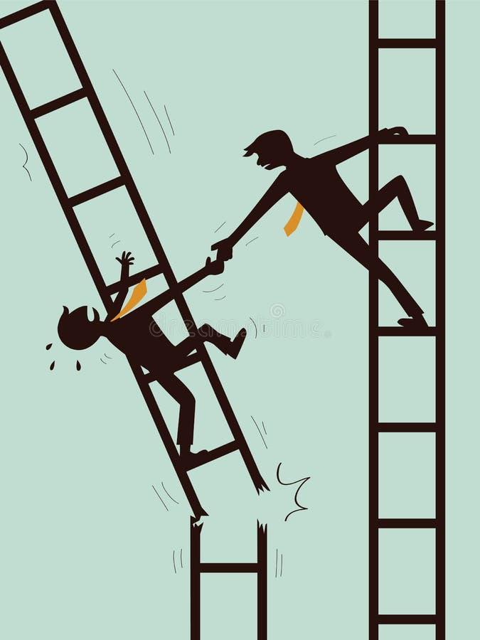 Ayude y sobreviva en negocio stock de ilustración