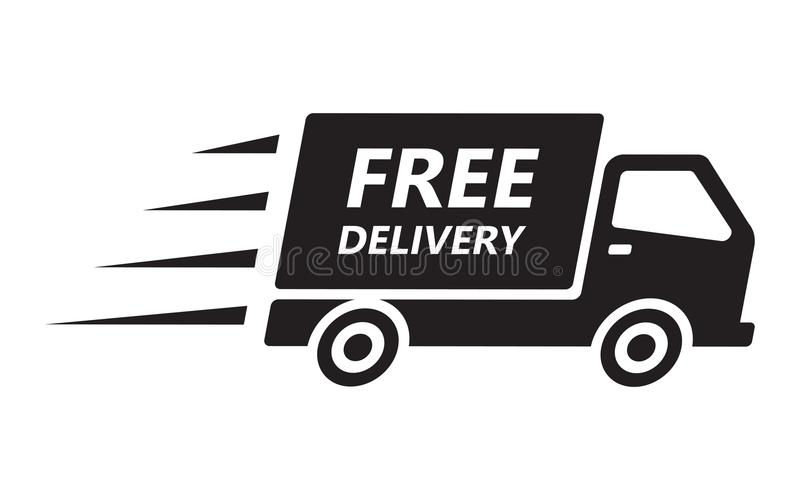 Ayuna y el camión de reparto del envío gratis ilustración del vector