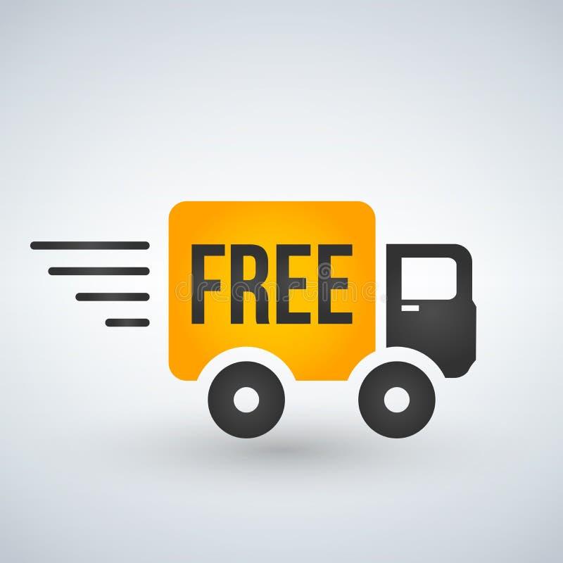 Ayuna y el icono plano del camión de reparto del envío gratis para los apps y los sitios web ilustración del vector