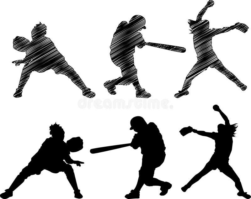 Ayunan las siluetas del beísbol con pelota blanda de la echada stock de ilustración