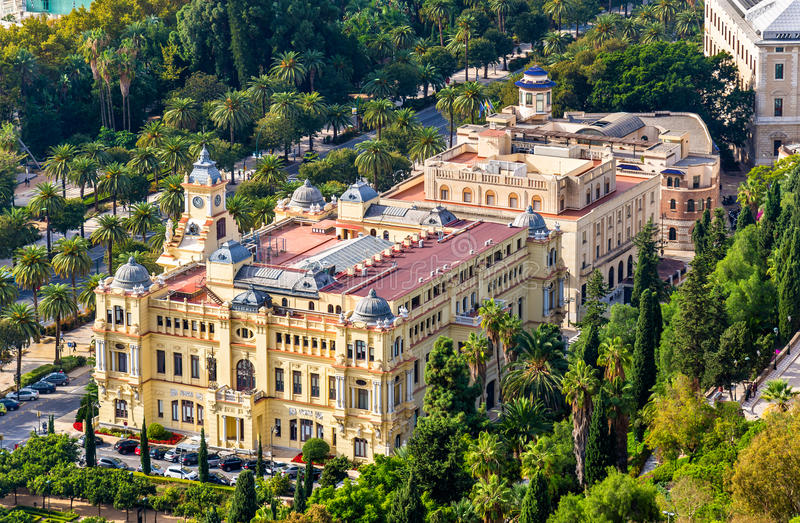 Ayuntamiento de马拉加,市议会大厦 西班牙 免版税库存照片