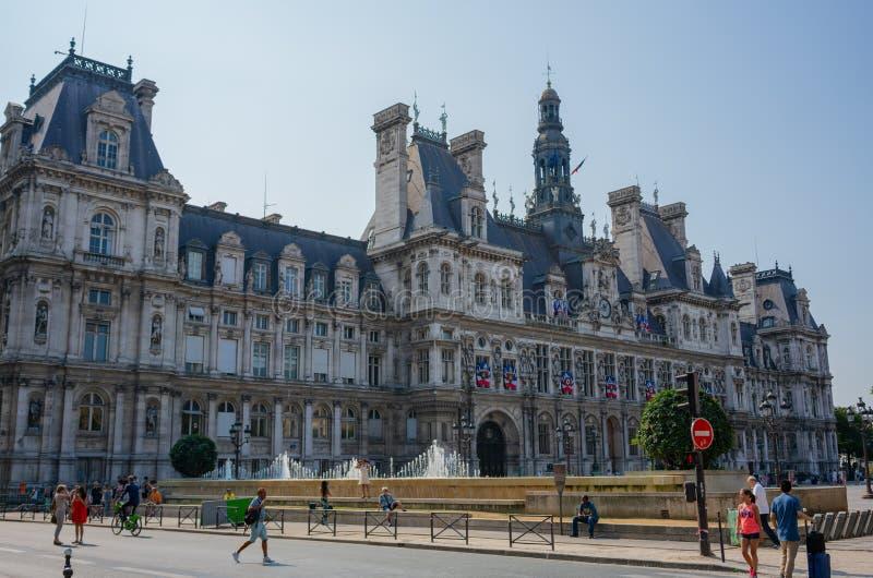 Ayuntamiento de Hotel de Ville de la opinión de la calle de París Francia imágenes de archivo libres de regalías