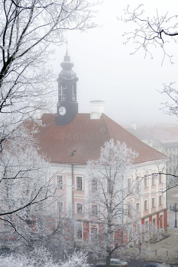Ayuntamiento de Tartu en niebla del invierno imagen de archivo