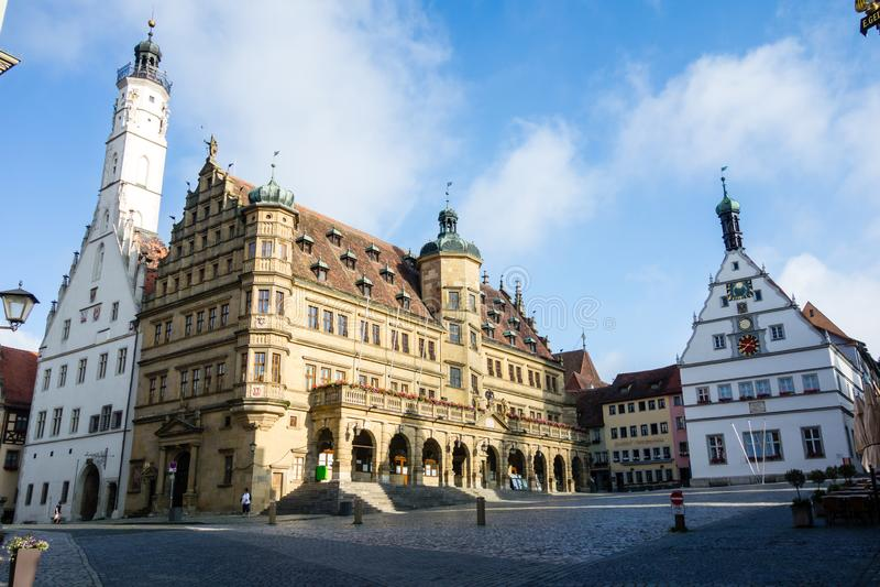 Ayuntamiento del der Tauber del ob de Rothenburg en Baviera Alemania fotografía de archivo