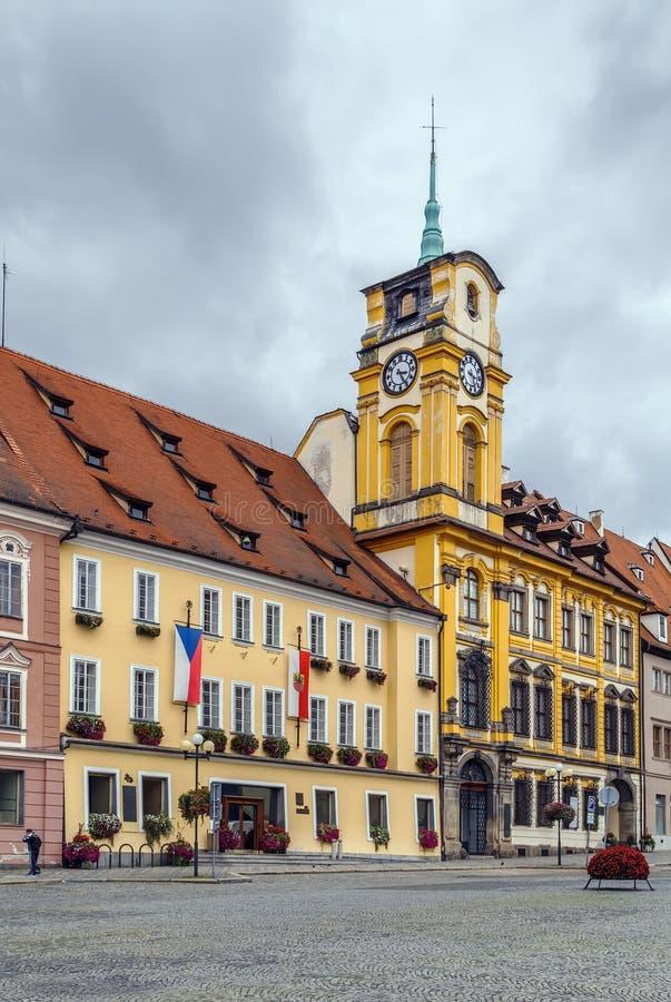 Ayuntamiento en Cheb, República Checa fotografía de archivo