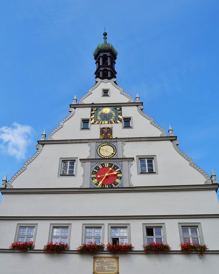Ayuntamiento en el der Tauber del ob de Rothenburg imagen de archivo