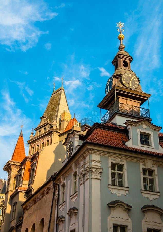 Ayuntamiento judío en Josefov, Praga foto de archivo