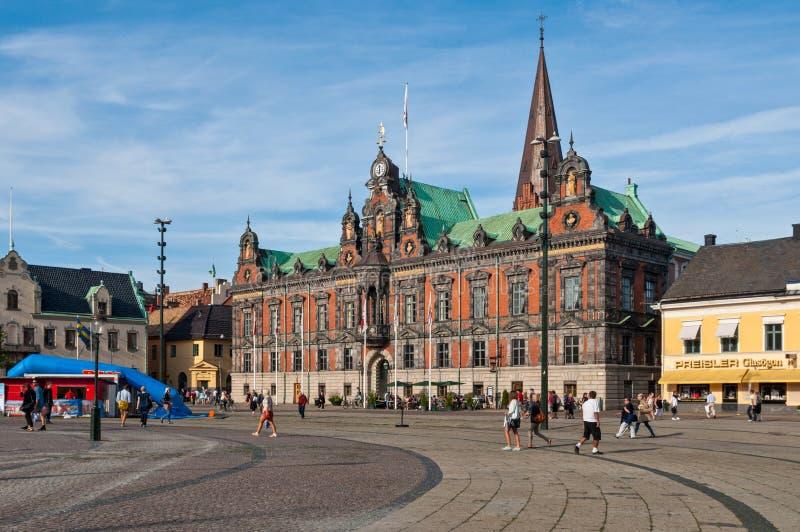 Ayuntamiento Malmö en el cuadrado de Stortorget, Suecia fotografía de archivo