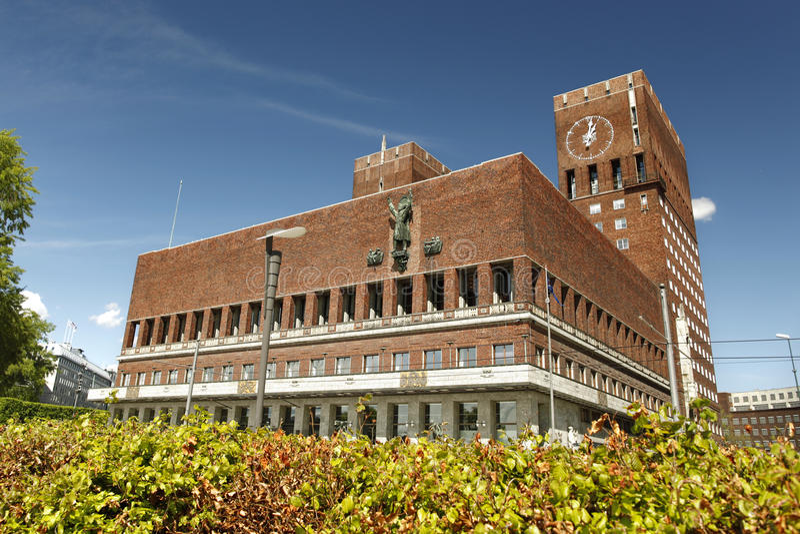 Ayuntamiento, Oslo, Noruega fotos de archivo libres de regalías