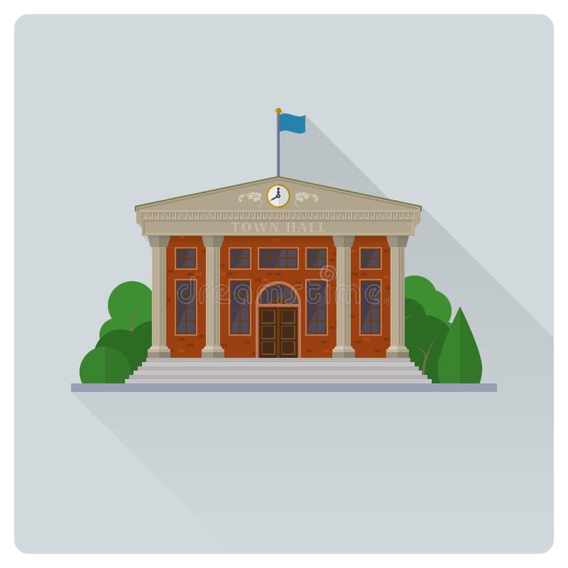 Ayuntamiento que construye el ejemplo plano del vector del diseño stock de ilustración