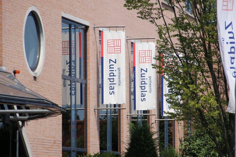 Ayuntamiento temporal en la guarida aan Ijssel de Nieuwerkerk para el municipio de Zuidplas en los Países Bajos imagen de archivo libre de regalías