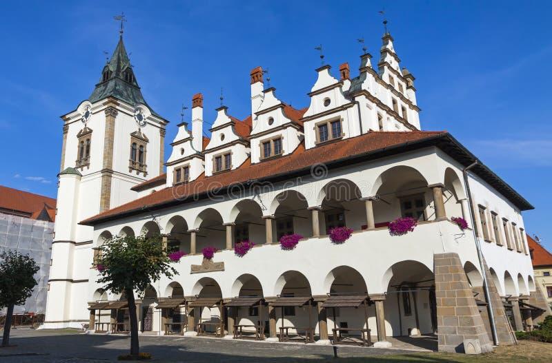 Ayuntamiento viejo único (radnica de Levocska) en la ciudad de Levoca, Eslovaquia fotografía de archivo libre de regalías