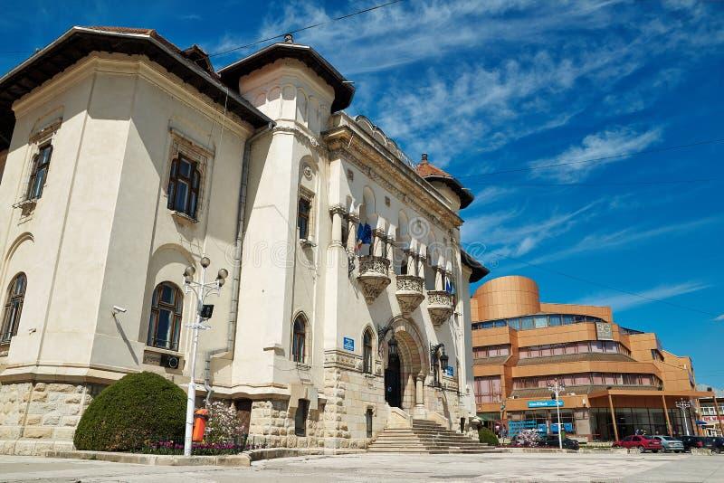 Ayuntamiento y alameda de Campulung fotografía de archivo libre de regalías