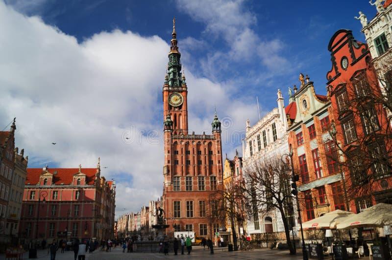Ayuntamiento y cuadrado en Gdansk imagen de archivo libre de regalías
