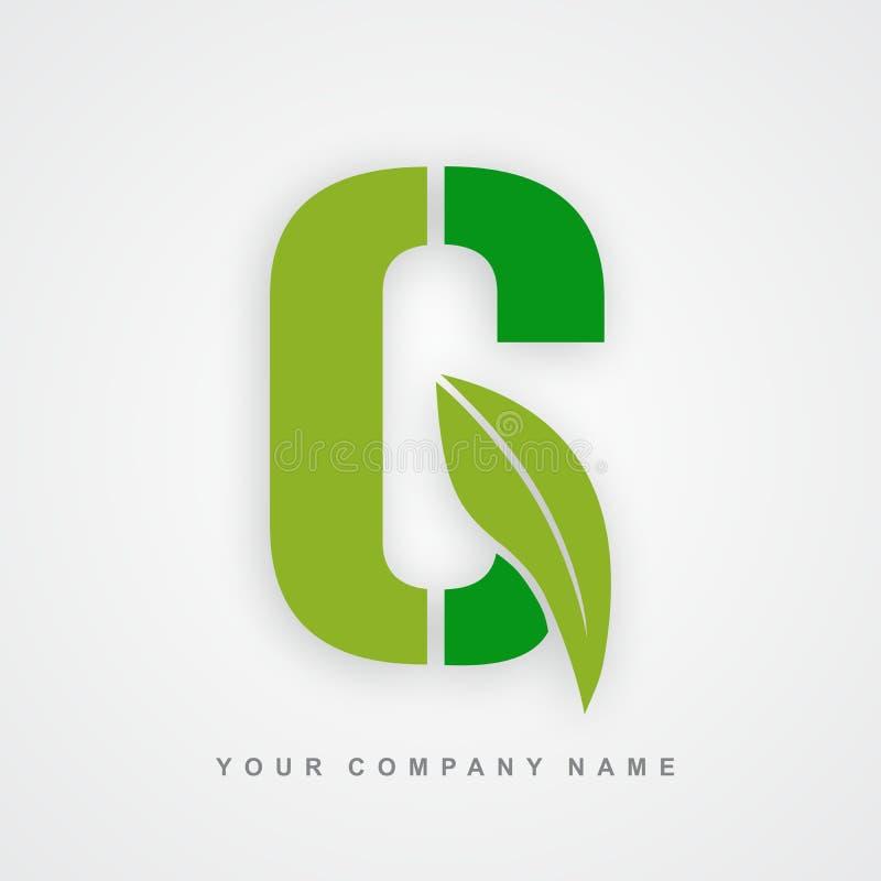 Ayurveda, ambiente o lettera organica g di logo illustrazione di stock