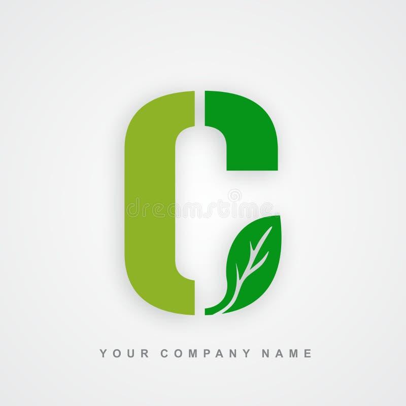 Ayurveda, ambiente ou letra orgânica c do logotipo ilustração stock