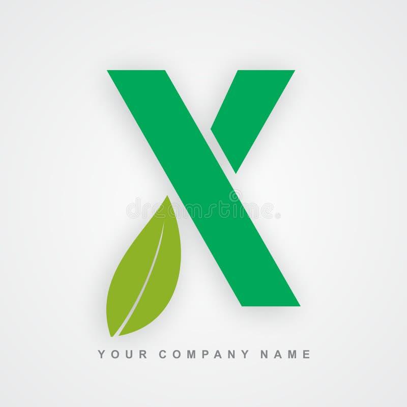 Ayurveda, ambiente ou letra orgânica x do logotipo ilustração do vetor