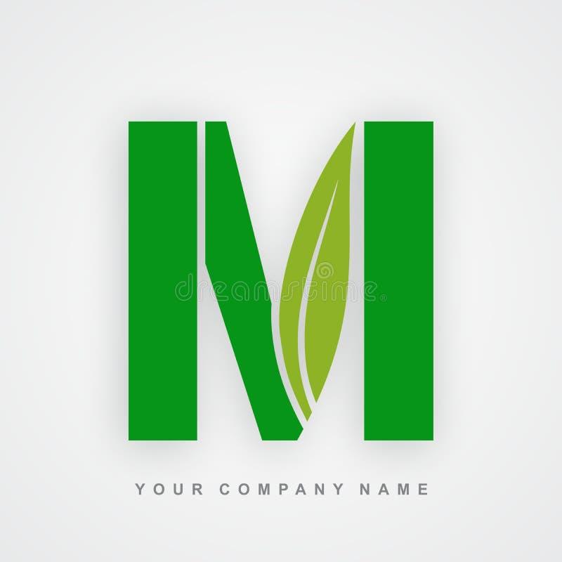 Ayurveda, ambiente ou letra orgânica m do logotipo ilustração do vetor