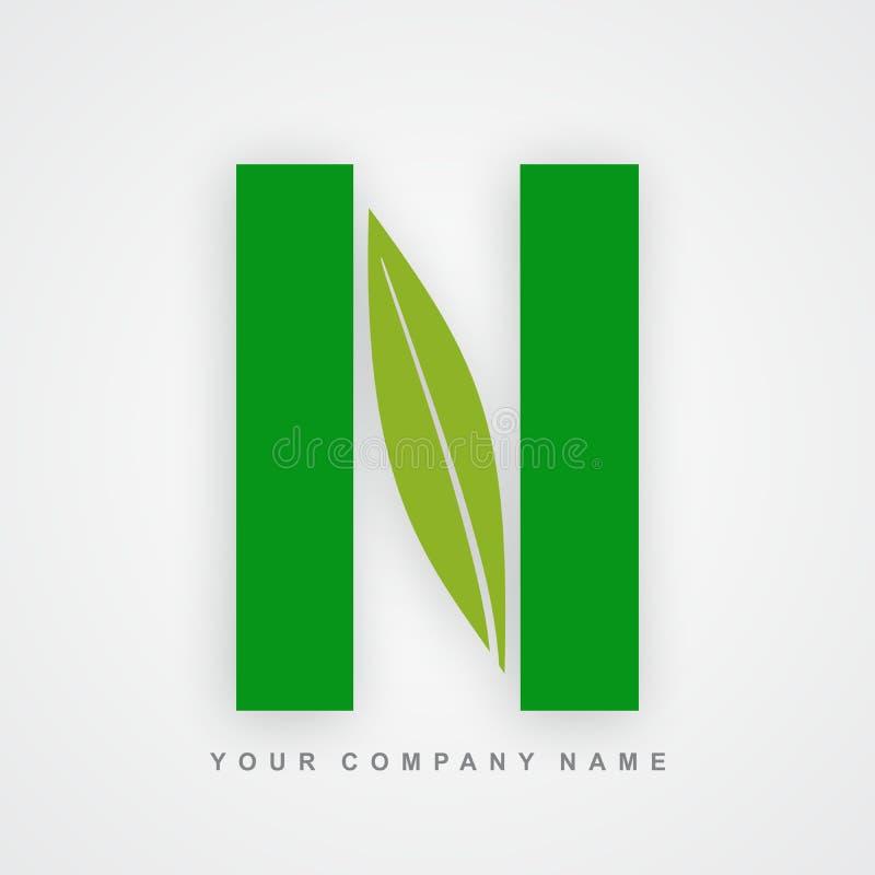 Ayurveda, ambiente ou letra orgânica n do logotipo ilustração royalty free