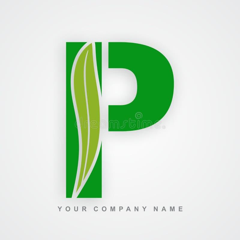 Ayurveda, ambiente ou letra orgânica p do logotipo ilustração royalty free