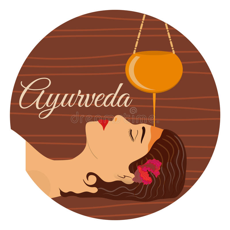 Ayurveda, ayurvedic treatment. Beautiful woman making sirodhara procedure with oil. Vector illustration stock illustration