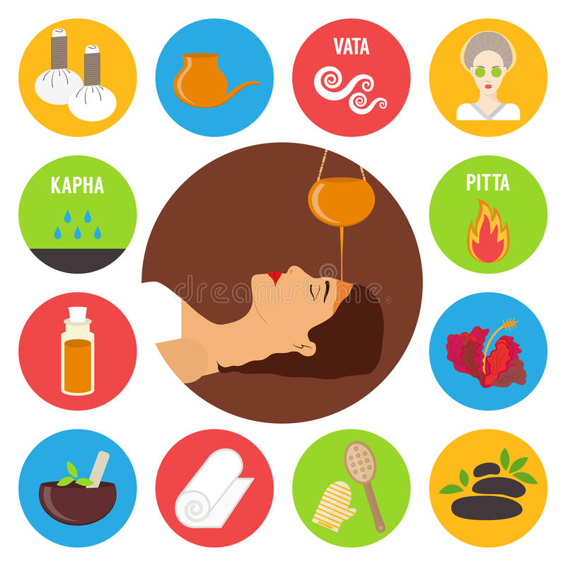 Ayurveda, ayurvedic treatment set. Sirodhara, oil massage and spa procedures. Vector illustration vector illustration