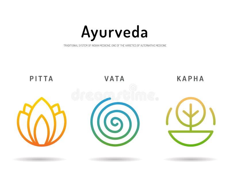 Ayurveda body types 03. Ayurveda illustration doshas vata, pitta, kapha. Ayurvedic body types. Ayurvedic infographic. Healthy lifestyle. Harmony with nature vector illustration