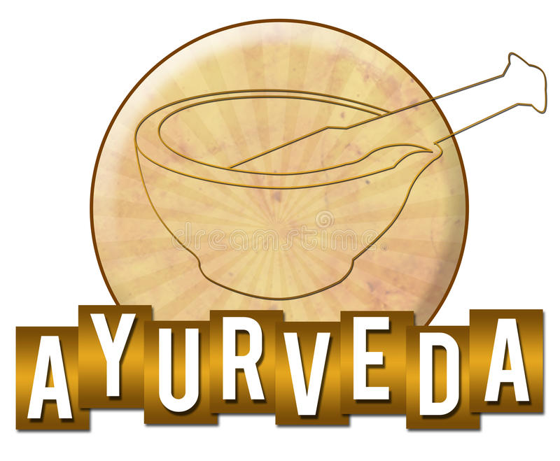 Ayurveda Circle Stripes. Ayurveda concept image with symbol and text over golden background vector illustration
