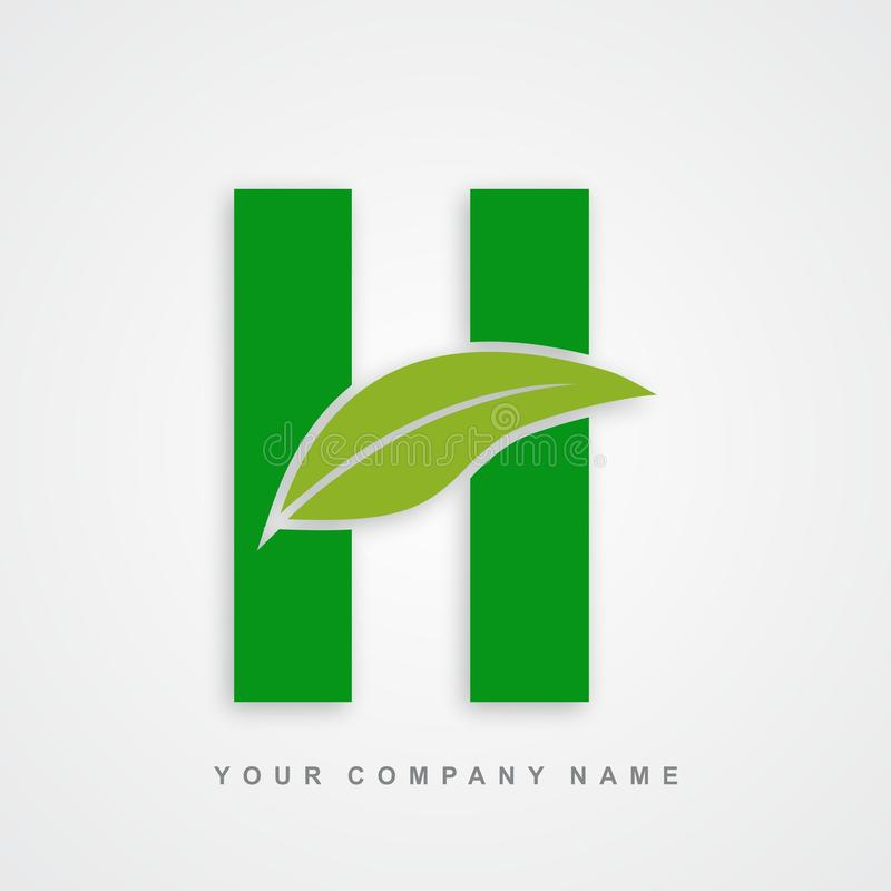 Ayurveda , environment or organic logo letter h. Ayurveda Logo Designs. Creative abstract vector letter icons with green colors. Leaf logo,nature green ecology royalty free illustration