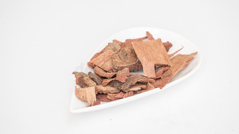 Ayurveda/ Médicament à base de plantes Arbre à douche dorée / écorce du Laburnum indien photos stock