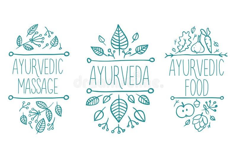 Ayurveda medicin, aromatherapystearinljus, vatten, bunke, olja, te, flaska, blomma, blad, andebrunnsortuppsättning Hand dragen na royaltyfri bild
