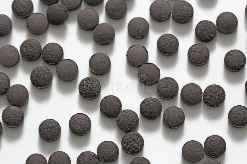 Ayurveda piller Växt- naturliga indiska piller, Ayurveda behandling Ayurvedic medicinört Bakgrund av pillret eller svart brunt royaltyfri bild