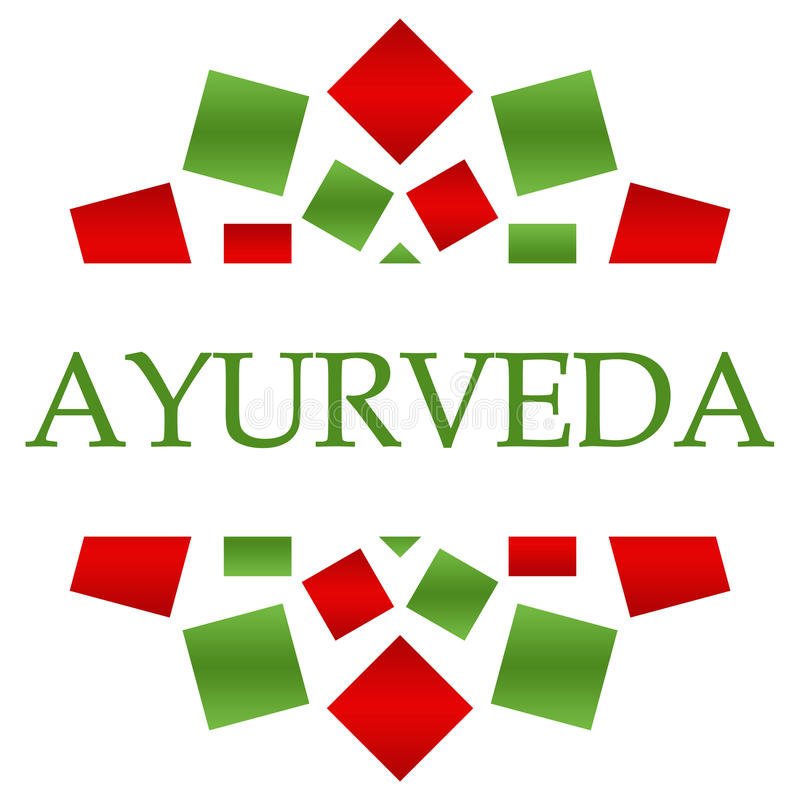 Ayurveda röd grön rund bakgrund royaltyfri illustrationer
