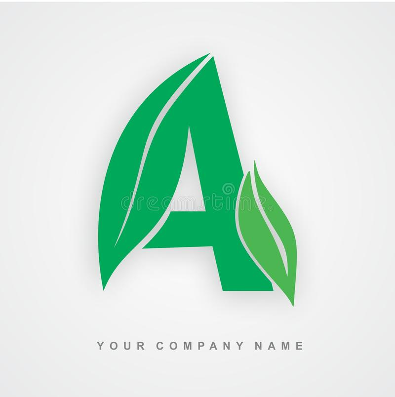 Ayurveda, Umwelt oder organischer Logobuchstabe a lizenzfreie abbildung