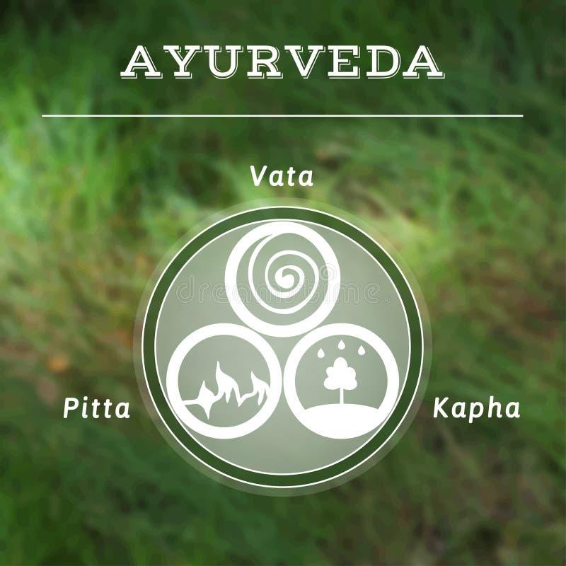 Ayurveda vector illustration. Ayurvedic body types. Ayurveda vector illustration. Ayurveda doshas. Vata, pitta, kapha doshas in white and green colors royalty free illustration