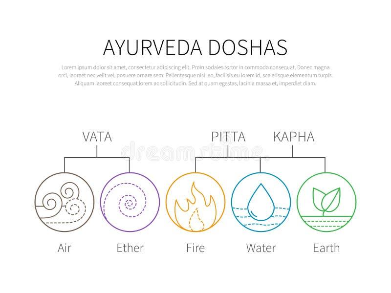 Ayurveda vector illustration doshas vata, pitta, kapha. Ayurvedic body types infographic. Ayurvedic elements icons. Healthy lifestyle vector illustration