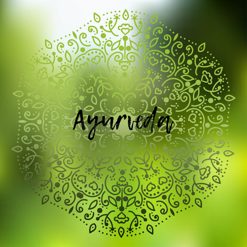 Ayurveda Vector illustration. Poster background Template with floral ornament on a blurry background in green tones with the inscription Ayurveda vector illustration