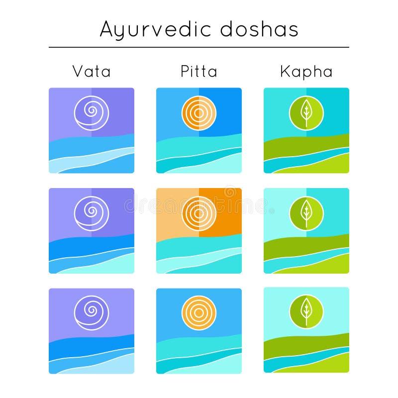 Ayurveda-Vektorillustration Ayurvedic-Elemente Satz flache Ikonen mit ayurveda doshas stock abbildung