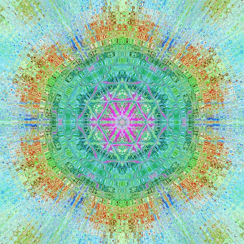 Ayurveda vert, mandala vert dans la technique en pastel illustration de vecteur