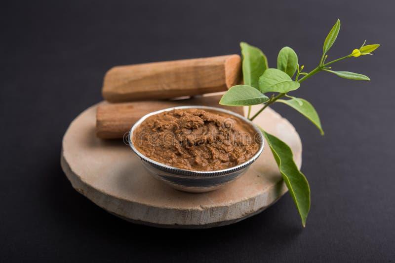 Ayurvedic chandan lape or lep or sandalwood paste royalty free stock photography