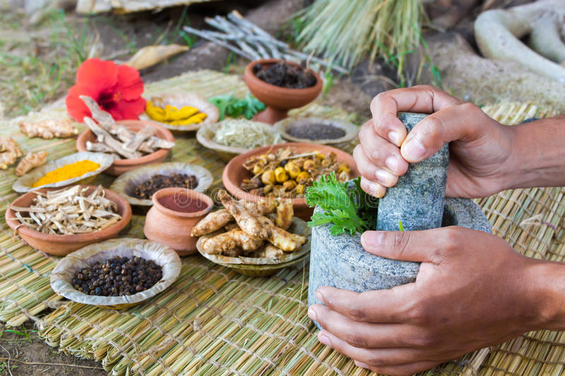 Ayurvedic Doctor. 's hands preparing ayurvedic medicine in the traditional manner in India royalty free stock images