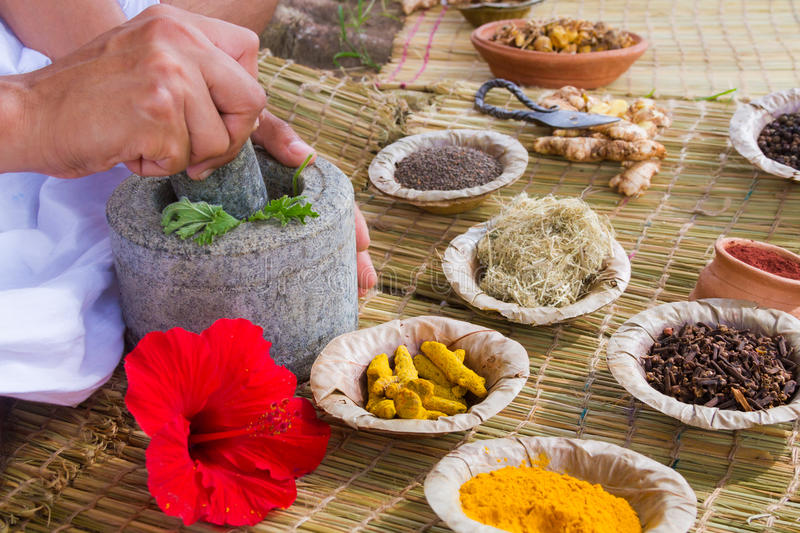 Ayurvedic Doctor. 's hands preparing ayurvedic medicine in the traditional manner in India stock photography