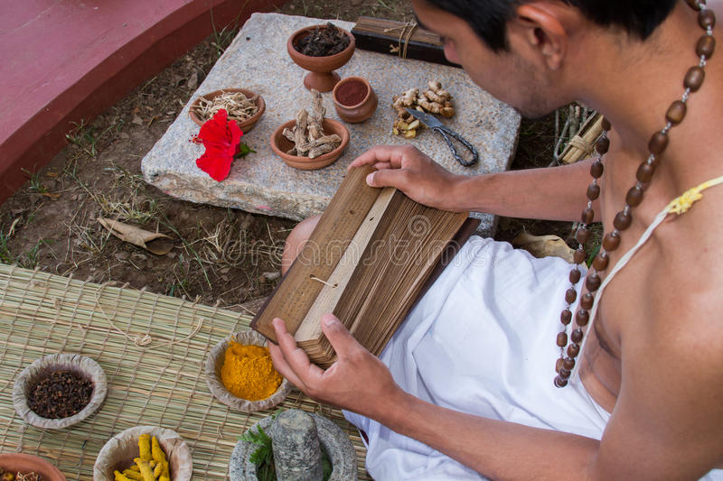 Ayurvedic Doctor. A young ayurvedic doctor reads ancient vedic palm leaf scrolls in the traditional manner in India stock photo